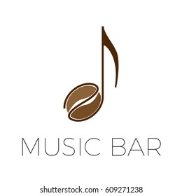 vector sign music coffee bar with bean and note