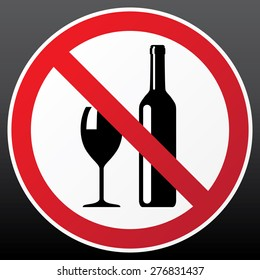 vector sign 'no alcohol' or 'alcohol is not allowed'