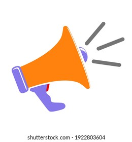 Vector Sign, orange Blue and Red Bullhorn, Isolated on White