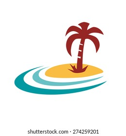Vector sign palm island