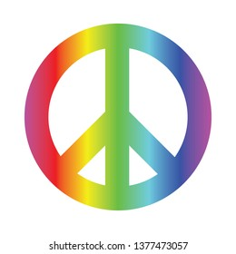 vector sign for peace, colored with rainbow gradient, as a symbol of love