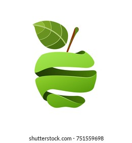 Vector sign peeled green apple