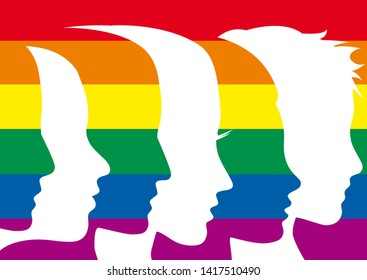 Vector sign people with rainbow. Peace or gay pride parade concept