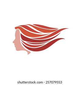 Vector sign red girl fast in the wind