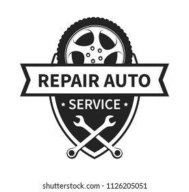 Vector Sign for Repair Auto and Tire Service. Coat of Arms with Wheel, Space for Title in black and white. The Emblem is very precise and concretely shows the services provided - it attracts clients.