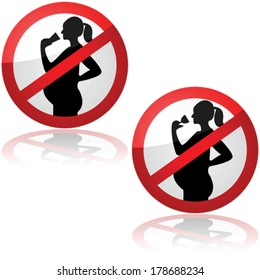 Vector sign showing pregnant women are not allowed to drink alcohol