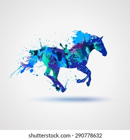 Vector sign: Silhouette of a horse, Watercolor splashes