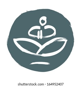Vector sign of sitting at yoga pose man. Vector graphics.