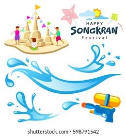 Vector sign songkran festival of Thailand design background, illustration