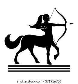 Vector sign. Strong centaur archer.