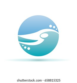 Vector sign swimming in the pool and sea