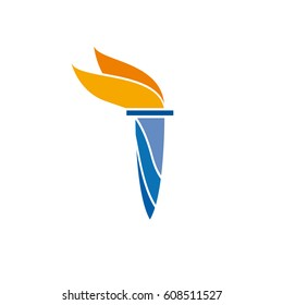 Vector sign torch and flame. Torchbearer