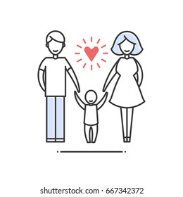 Vector sign of traditional family - mom, dad, and son hold hands. A flat isolated pictogram on white background.