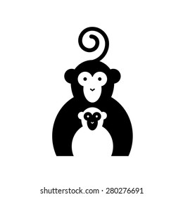 Vector sign two monkeys