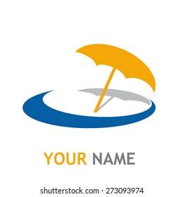 Vector sign umbrella on the beach