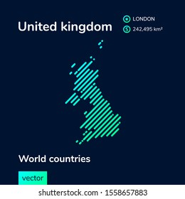 Vector sign of United kingdom in blue and mint colours. Geografic map
