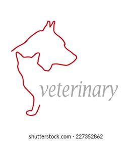 Vector sign veterinarian, dog and cat