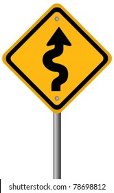 Vector sign of winding road