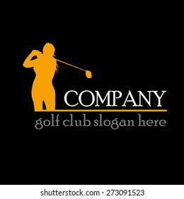 Vector sign woman play golf