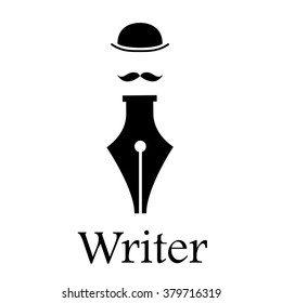 Vector sign writer. Fountain pen, man with hat and mustache