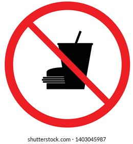 Vector of a signage showing foods and drinks are not allowed, isolated in black and white