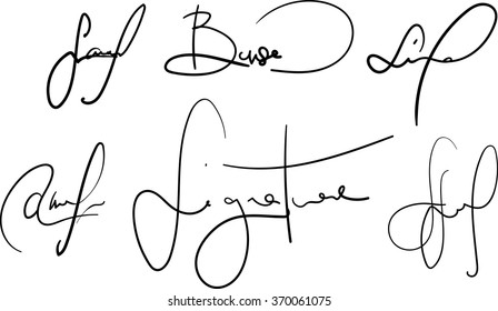 Vector signatures collection. Fictional contract signatures. Business autograph illustration
