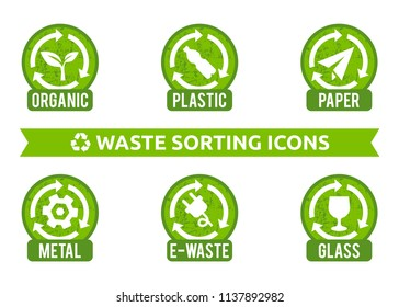 Vector signs collection for different types of waste: organic, plastic, e-waste, glass, metal. Isolated recycling icons. Set of stickers for garbage containers.