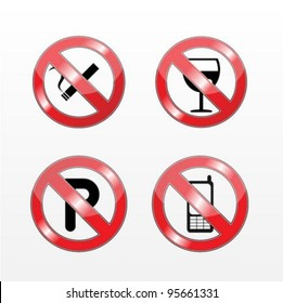 "Vector Signs ""No Smoking"",""No Alcohol"",""No Parking"""