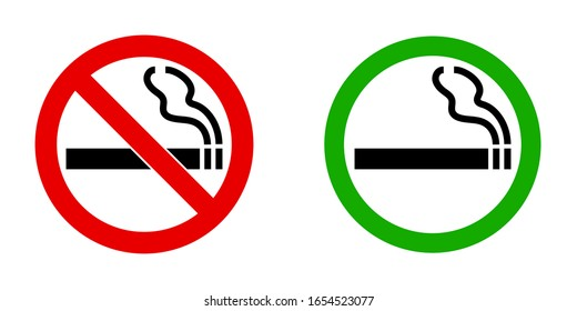vector signs for smoking prohibited and designated area for smoking