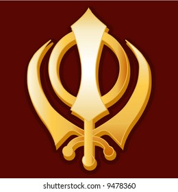 vector. Sikh Symbol. Golden Khanda symbol of the Sikh faith on a crimson background. EPS8 organized in groups for easy editing.