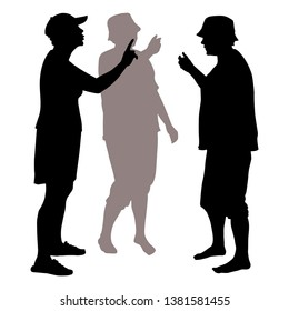 Vector silhouette 3 women in summer clothes arguing. A woman in a baseball cap is pointing to another woman with her index finger, the concept of a dispute, a quarrel, a conversation, a discussion.