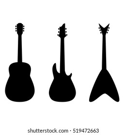 A vector silhouette of an acoustic and electric guitars set