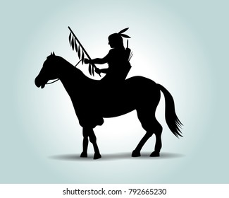 Vector silhouette of an american indian