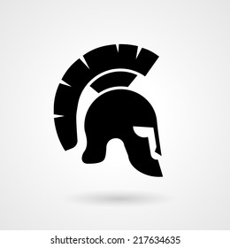 Vector silhouette of an ancient Roman or Greek helmet used in combat by soldiers of the legions with a long protective face piece and feathered crest