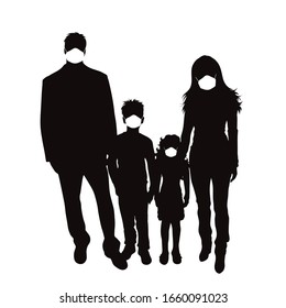Vector silhouette of anonymous family with medical mask on white background. Symbol of healthy and sick. Danger of coronavirus.