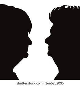 Vector silhouette of anonymous senior women on white background. Symbol of people and profile.