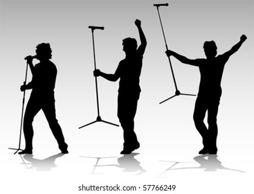 Vector silhouette of artists of hard rock. A live performance on stage