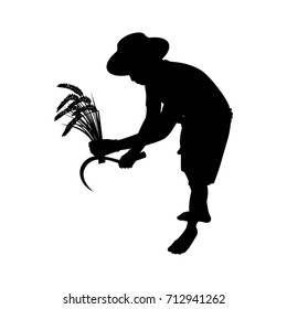 Vector silhouette of a asian farmer. Isolated vector on white background.