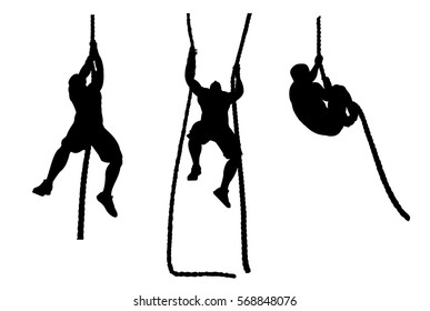 vector silhouette of an athlete climbing up the rope