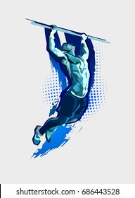vector silhouette of athlete doing gymnastics