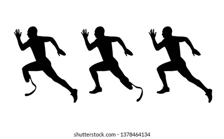 Vector silhouette of athlete runner disabled amputee and without disabled