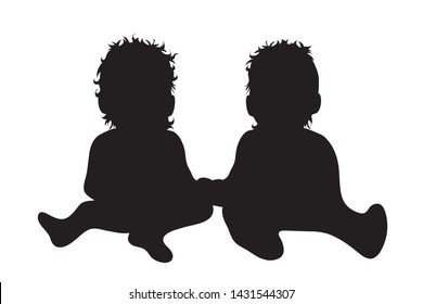 Vector silhouette of babies who plays together on white background. Symbol of siblings, twins, family,friends.