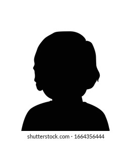 Vector silhouette of baby on white background. Kids avatar.