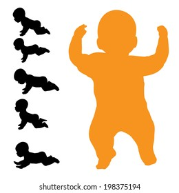 Vector silhouette of baby on a white background.