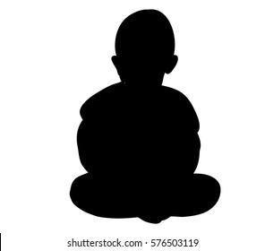 vector silhouette of the baby sitting in isolation