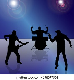 Vector silhouette of the band on a colored background.