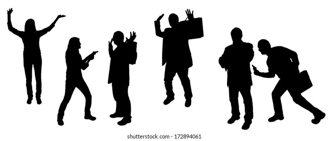 vector silhouette of bank robbery