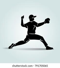 Vector silhouette baseball player