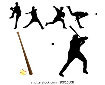 Vector of silhouette baseball players and gear