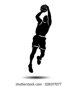 Vector silhouette of a basketball player